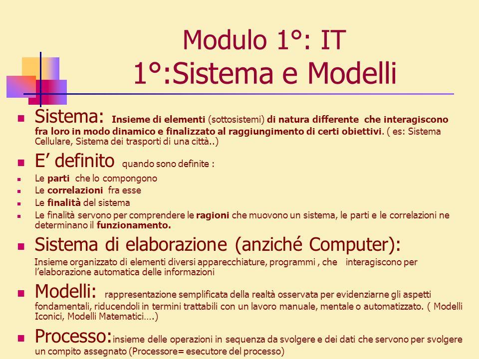 Modulo 1°: IT 1°:Sistema e Modelli