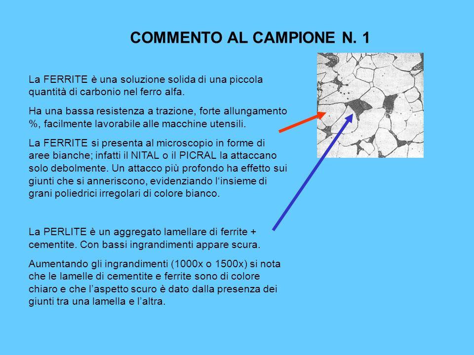 COMMENTO AL CAMPIONE N. 1 La FERRITE è una soluzione solida di una piccola quantità di carbonio nel ferro alfa.