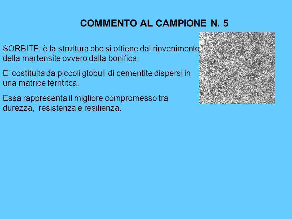 COMMENTO AL CAMPIONE N. 5 SORBITE: è la struttura che si ottiene dal rinvenimento della martensite ovvero dalla bonifica.