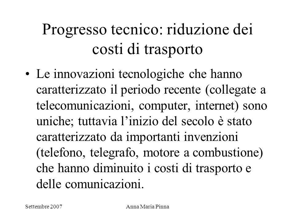 Progresso tecnico: riduzione dei costi di trasporto