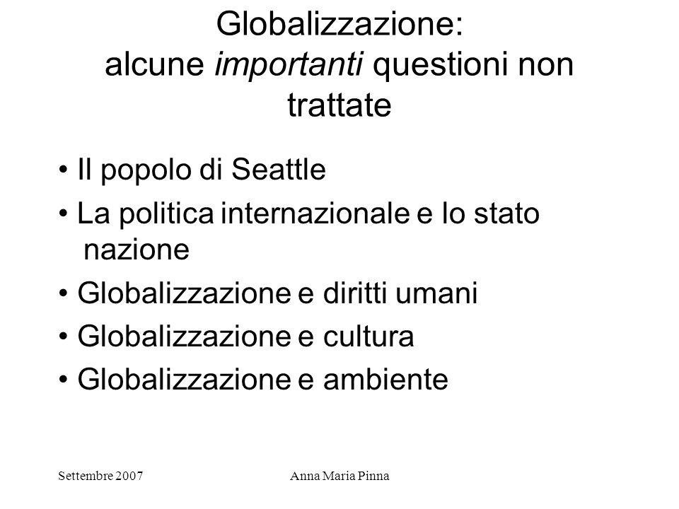 Globalizzazione: alcune importanti questioni non trattate