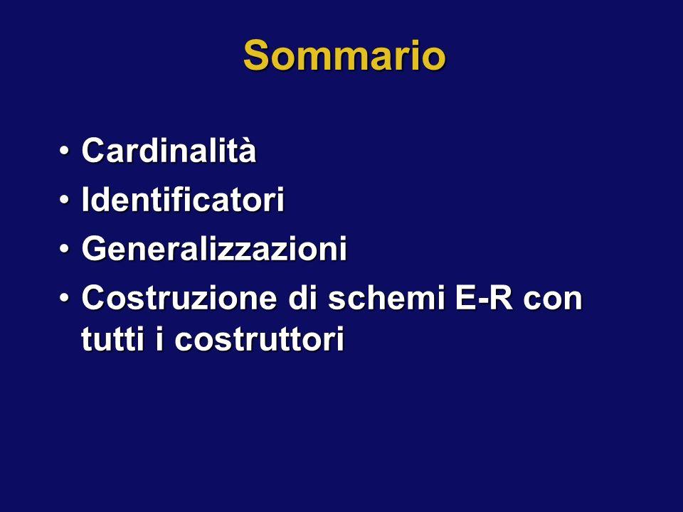 Sommario Cardinalità Identificatori Generalizzazioni