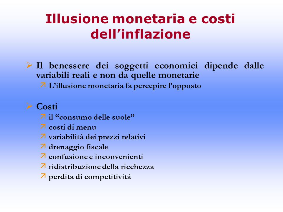 Illusione monetaria e costi dell'inflazione