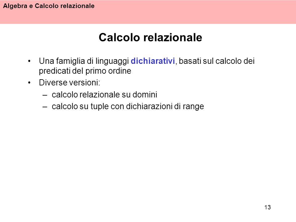 Calcolo relazionale Una famiglia di linguaggi dichiarativi, basati sul calcolo dei predicati del primo ordine.