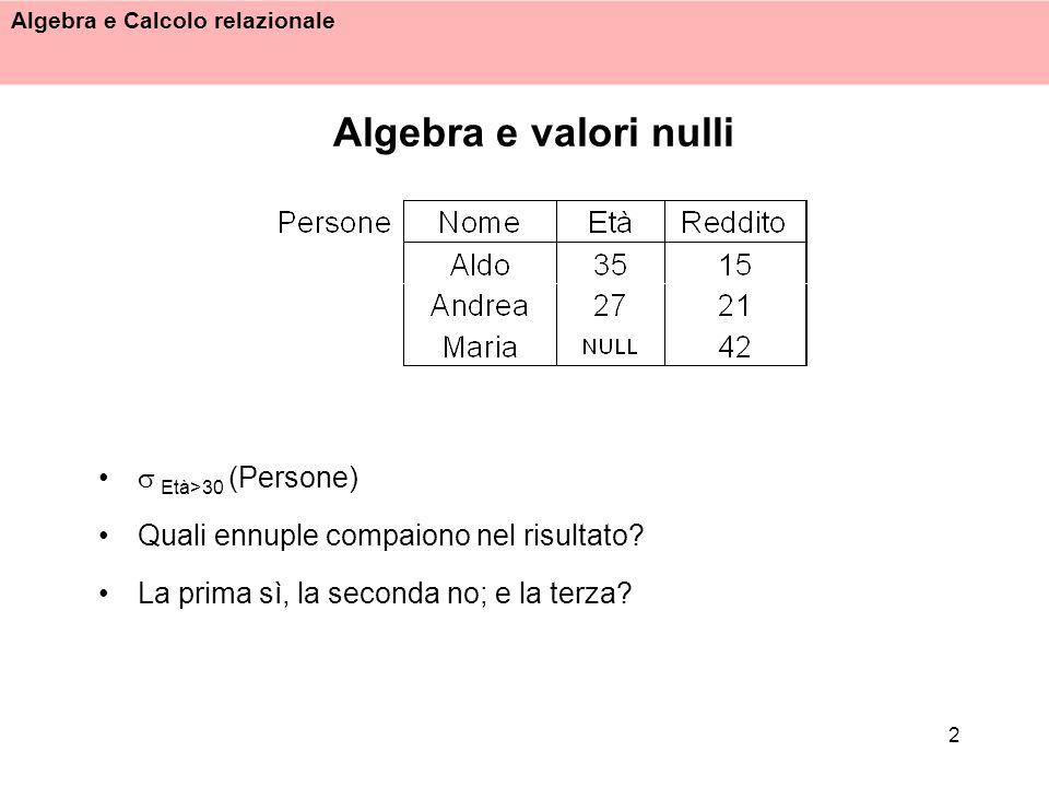 Algebra e valori nulli  Età>30 (Persone)