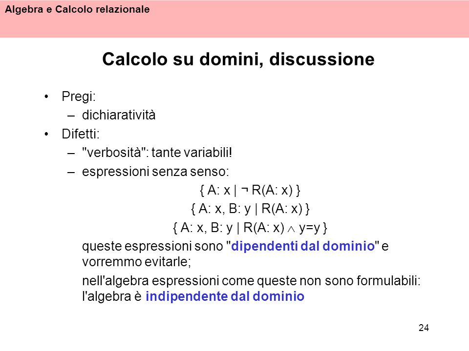 Calcolo su domini, discussione