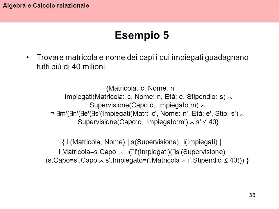 { i.(Matricola, Nome) | s(Supervisione), i(Impiegati) |