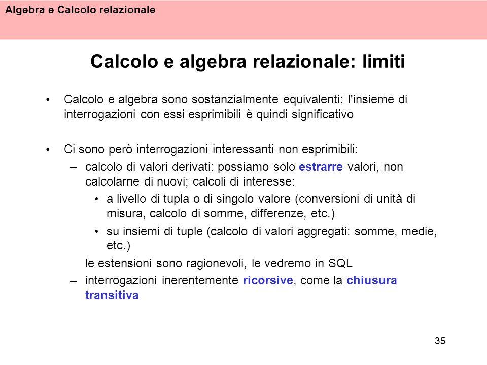 Calcolo e algebra relazionale: limiti