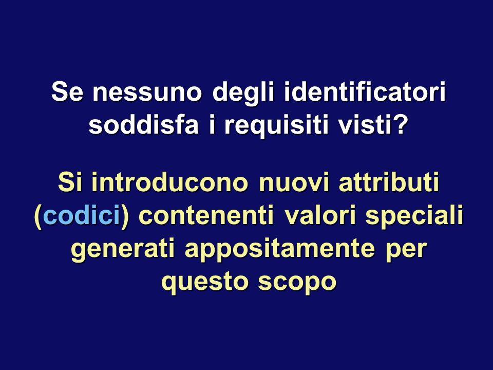 Se nessuno degli identificatori soddisfa i requisiti visti