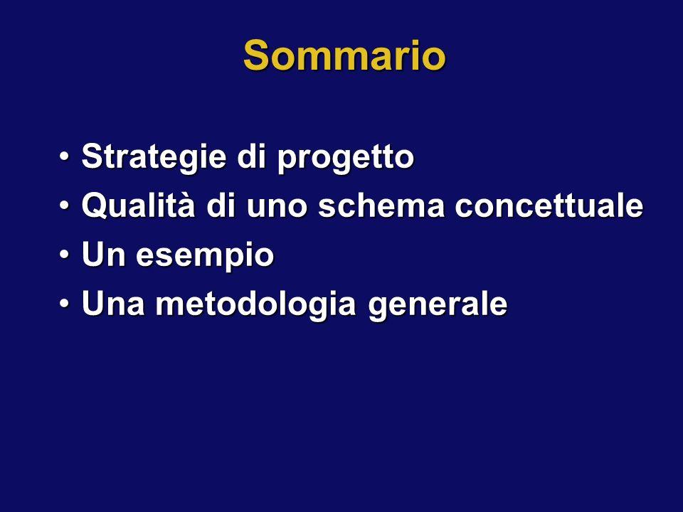 Sommario Strategie di progetto Qualità di uno schema concettuale