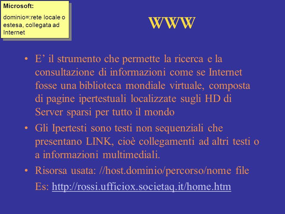 Microsoft: dominio=:rete locale o estesa, collegata ad Internet. WWW.