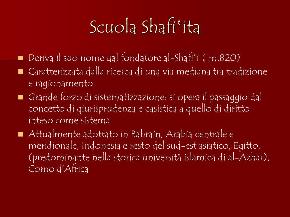 Scuola Shafi'ita Deriva il suo nome dal fondatore al-Shafi'i ( m.820)