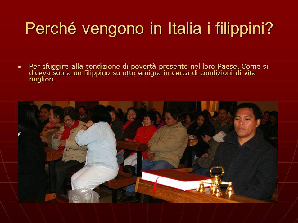 Perché vengono in Italia i filippini