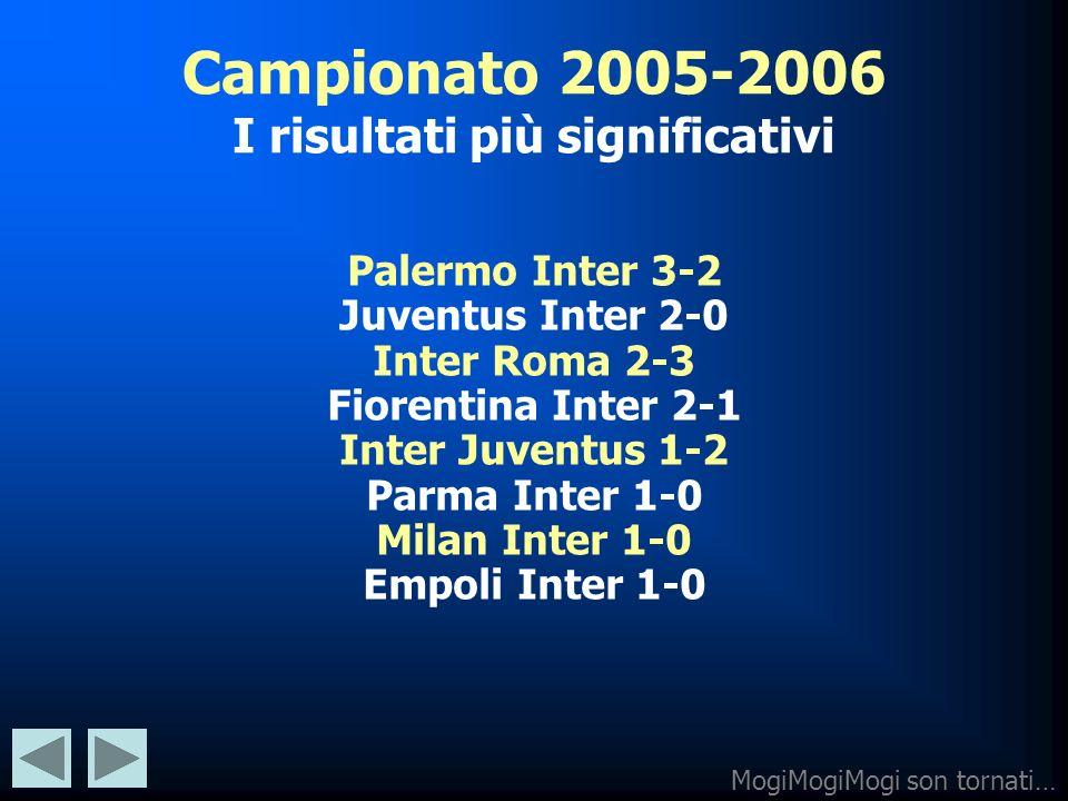 Campionato 2005-2006 I risultati più significativi