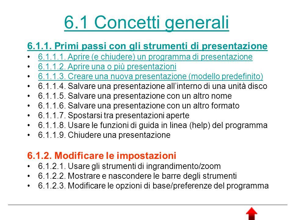 6.1 Concetti generali 6.1.1. Primi passi con gli strumenti di presentazione. 6.1.1.1. Aprire (e chiudere) un programma di presentazione.
