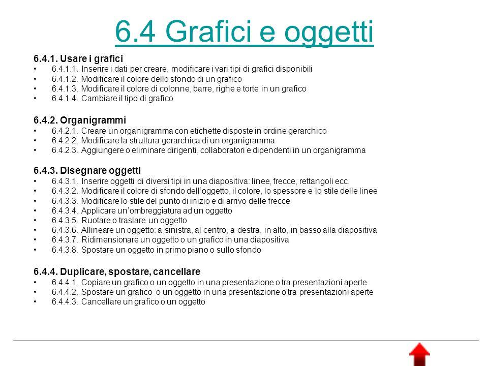 6.4 Grafici e oggetti 6.4.1. Usare i grafici 6.4.2. Organigrammi