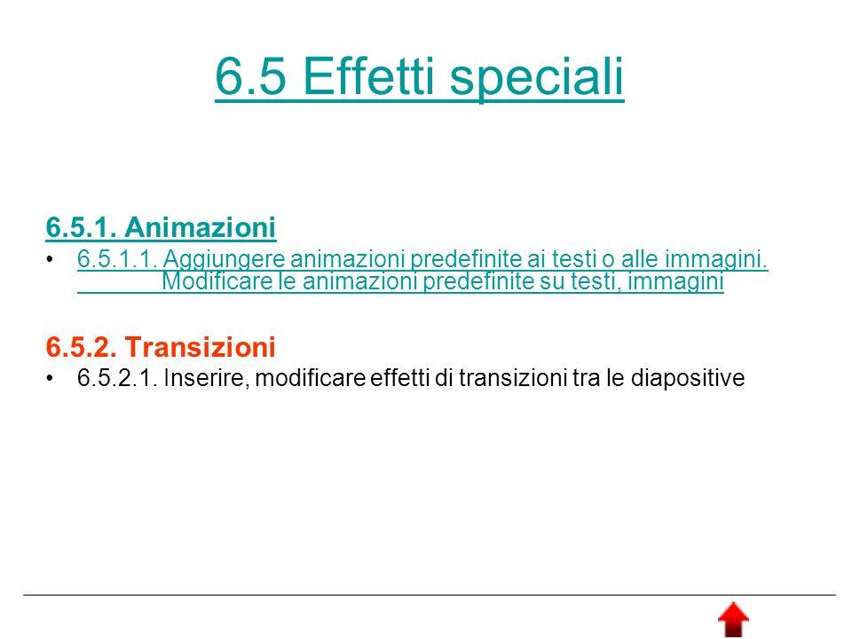 6.5 Effetti speciali 6.5.1. Animazioni 6.5.2. Transizioni