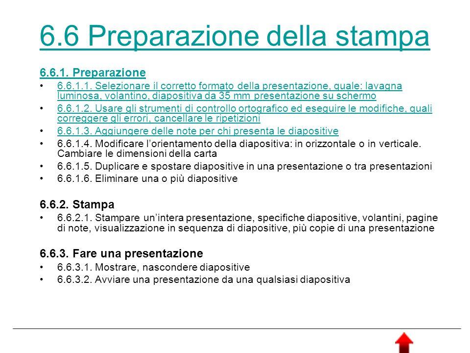 6.6 Preparazione della stampa