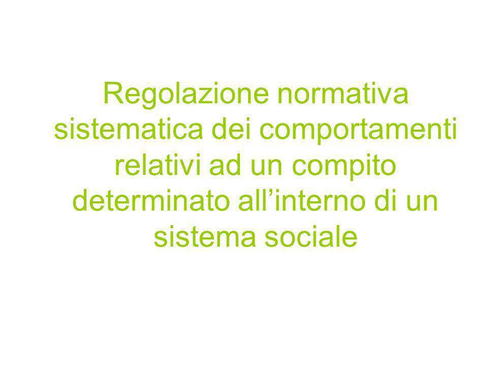 Regolazione normativa sistematica dei comportamenti relativi ad un compito determinato all'interno di un sistema sociale