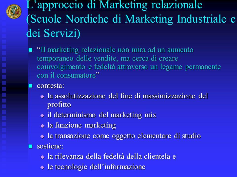 L'approccio di Marketing relazionale (Scuole Nordiche di Marketing Industriale e dei Servizi)