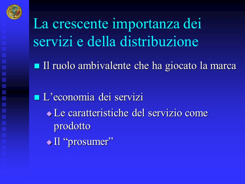 La crescente importanza dei servizi e della distribuzione