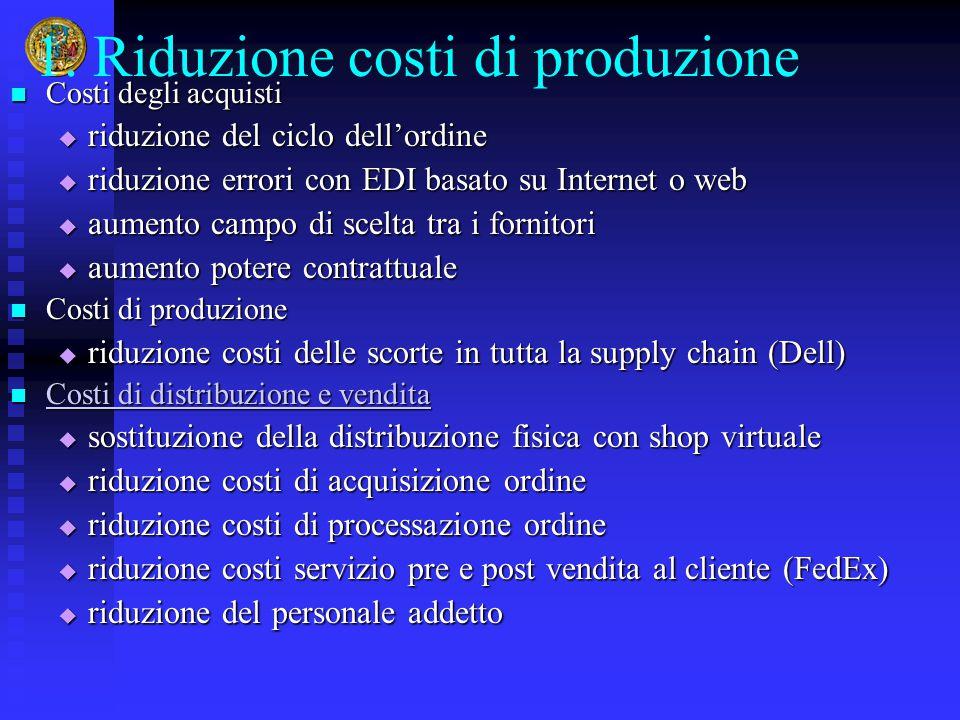 1. Riduzione costi di produzione