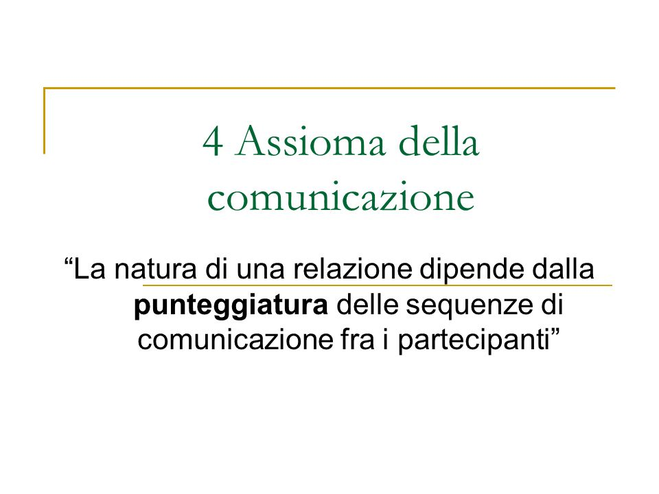 4 Assioma della comunicazione