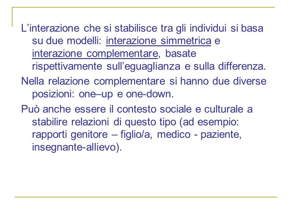 L'interazione che si stabilisce tra gli individui si basa su due modelli: interazione simmetrica e interazione complementare, basate rispettivamente sull'eguaglianza e sulla differenza.