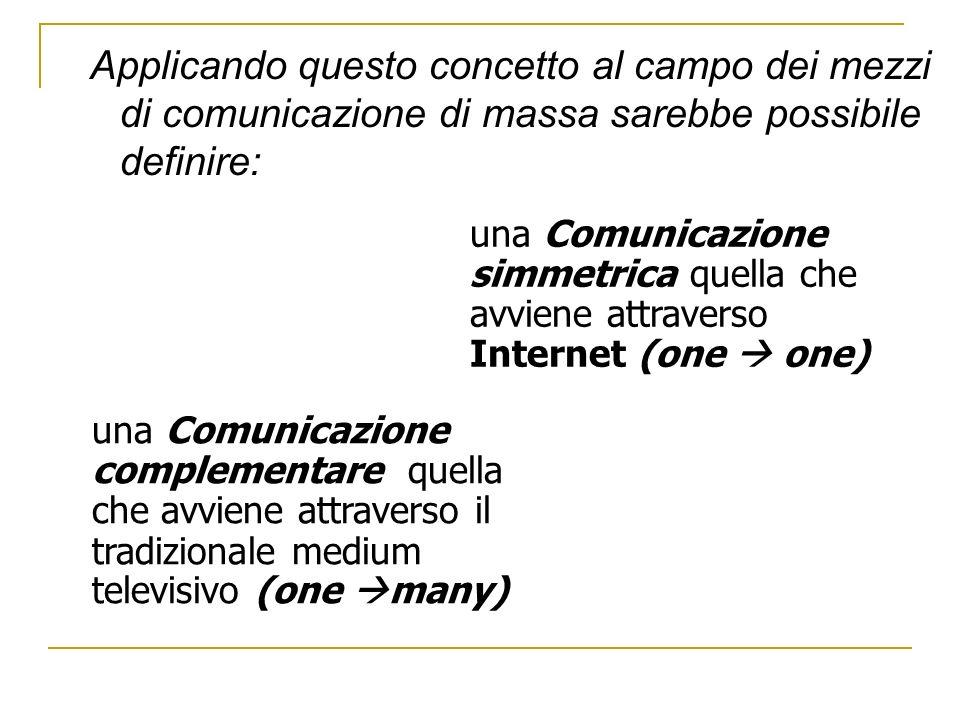 Applicando questo concetto al campo dei mezzi di comunicazione di massa sarebbe possibile definire: