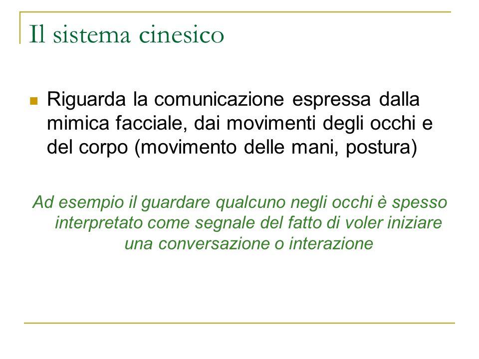 Il sistema cinesico Riguarda la comunicazione espressa dalla mimica facciale, dai movimenti degli occhi e del corpo (movimento delle mani, postura)