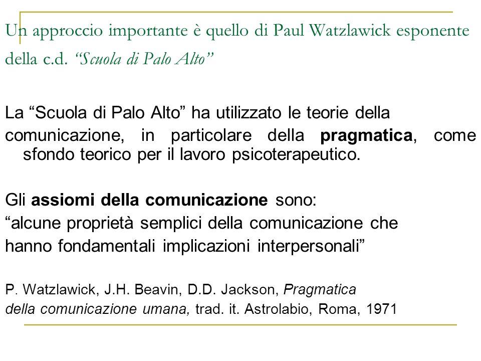 Un approccio importante è quello di Paul Watzlawick esponente della c