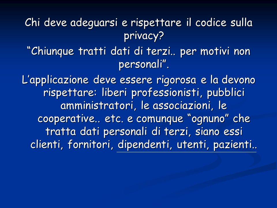 Chi deve adeguarsi e rispettare il codice sulla privacy
