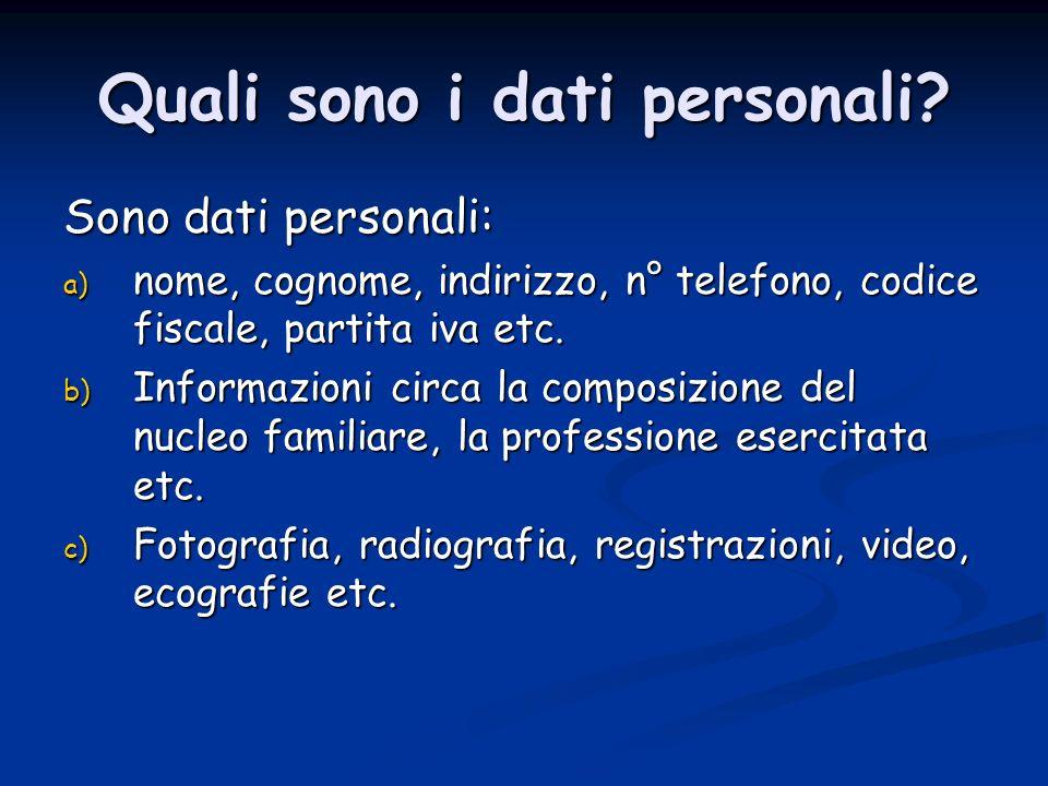 Quali sono i dati personali