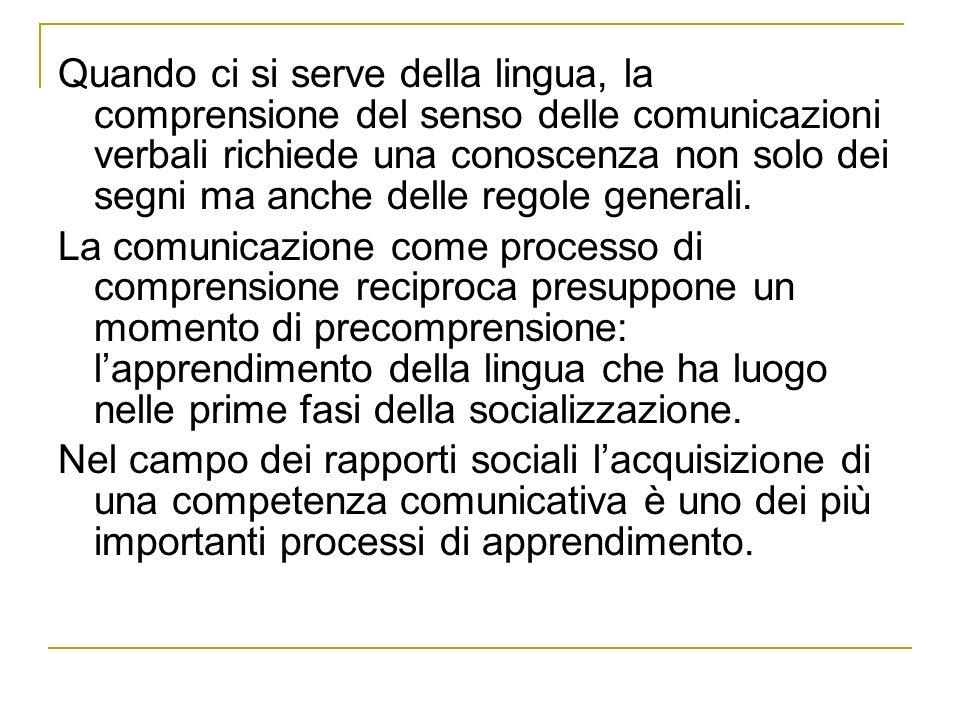 Quando ci si serve della lingua, la comprensione del senso delle comunicazioni verbali richiede una conoscenza non solo dei segni ma anche delle regole generali.