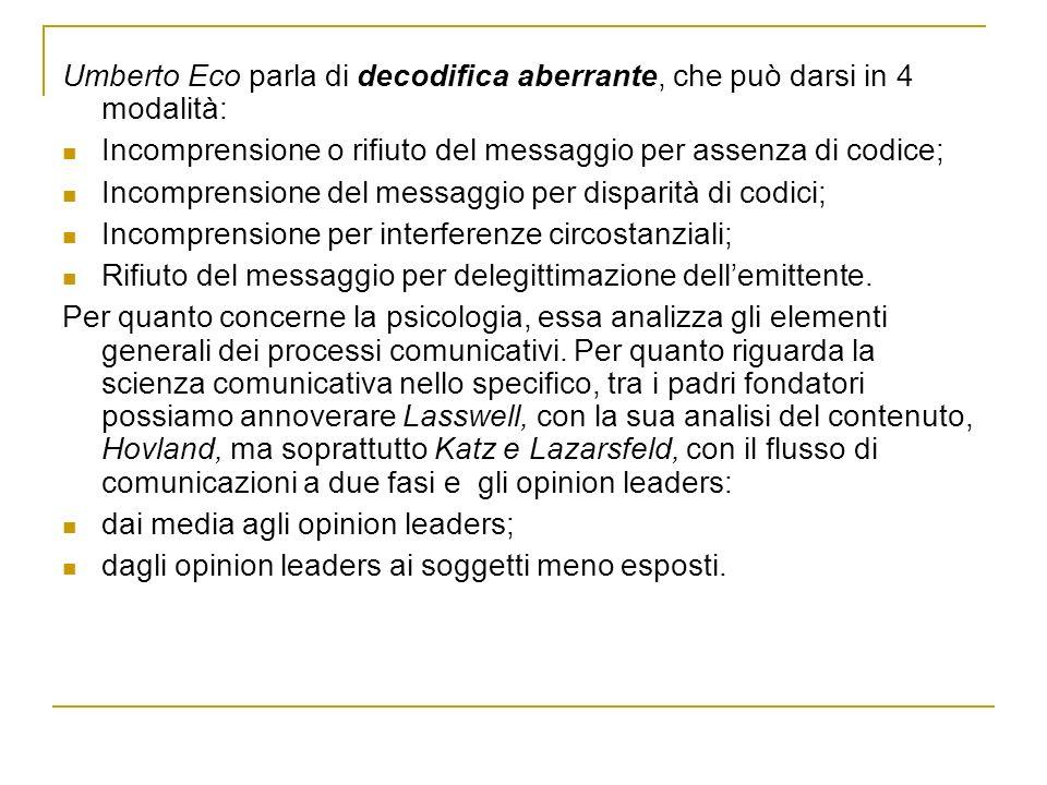 Umberto Eco parla di decodifica aberrante, che può darsi in 4 modalità: