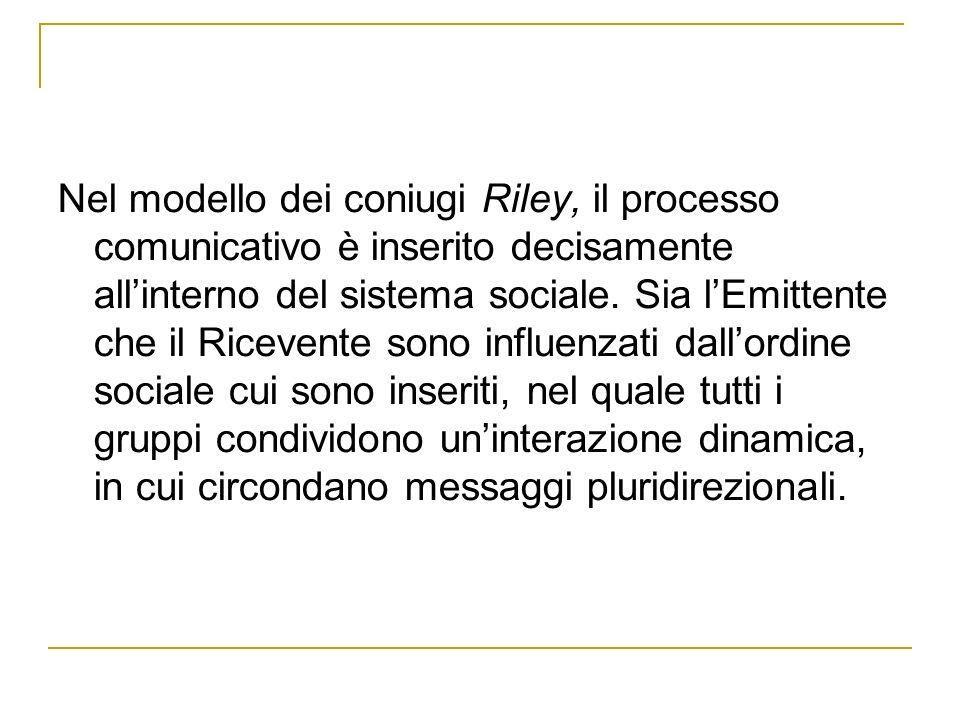 Nel modello dei coniugi Riley, il processo comunicativo è inserito decisamente all'interno del sistema sociale.
