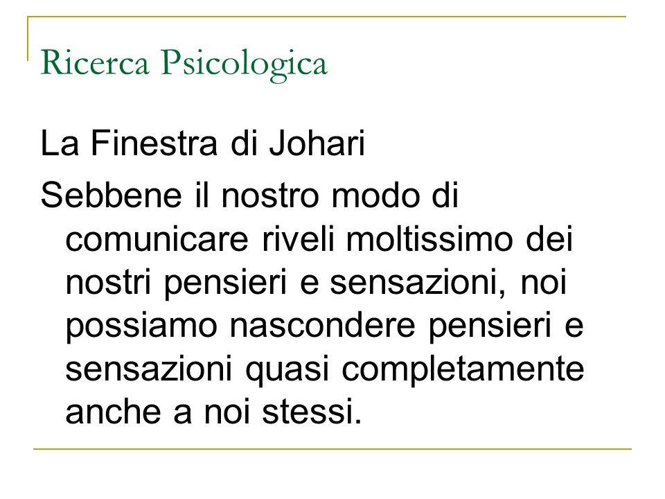 Ricerca Psicologica La Finestra di Johari