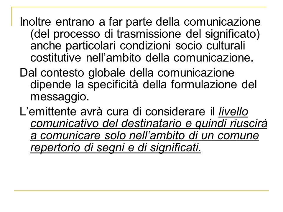 Inoltre entrano a far parte della comunicazione (del processo di trasmissione del significato) anche particolari condizioni socio culturali costitutive nell'ambito della comunicazione.