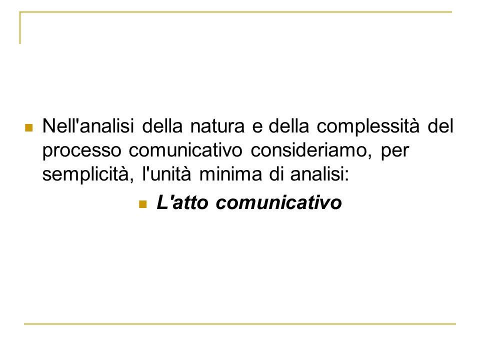 Nell analisi della natura e della complessità del processo comunicativo consideriamo, per semplicità, l unità minima di analisi: