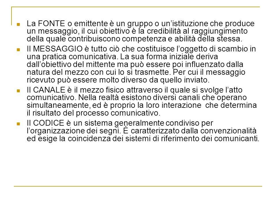 La FONTE o emittente è un gruppo o un'istituzione che produce un messaggio, il cui obiettivo è la credibilità al raggiungimento della quale contribuiscono competenza e abilità della stessa.