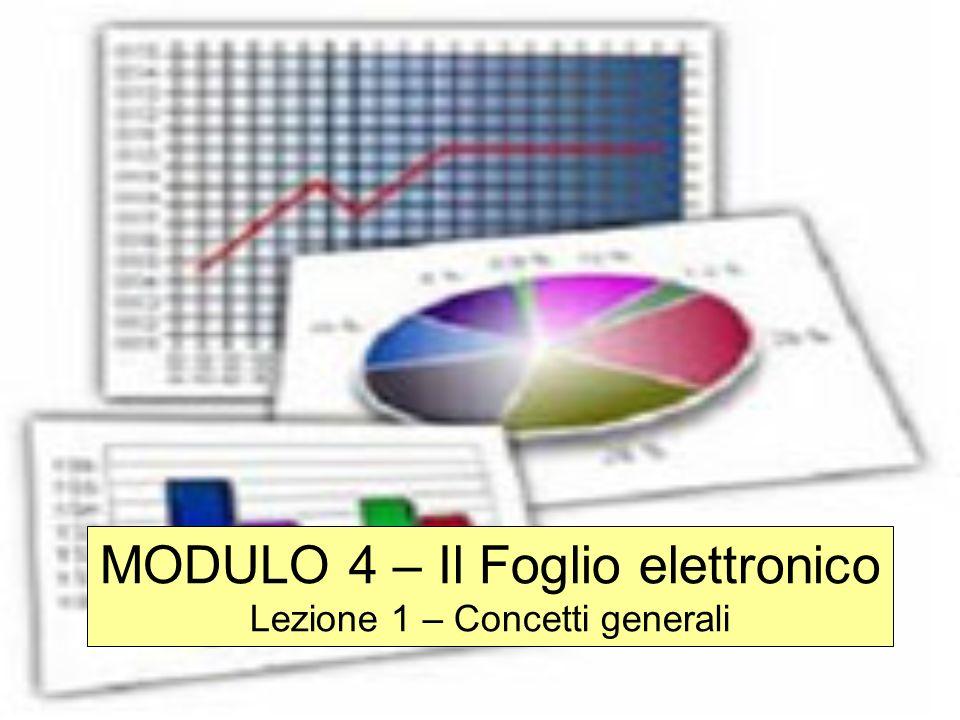 MODULO 4 – Il Foglio elettronico