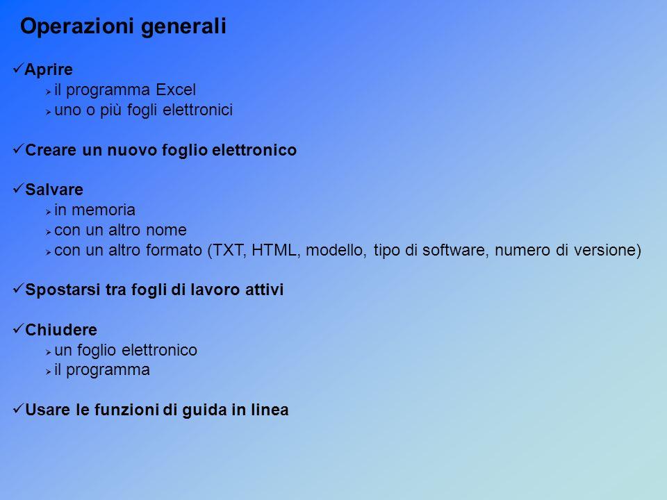 Operazioni generali Aprire il programma Excel