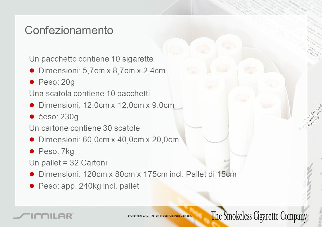 Confezionamento Un pacchetto contiene 10 sigarette