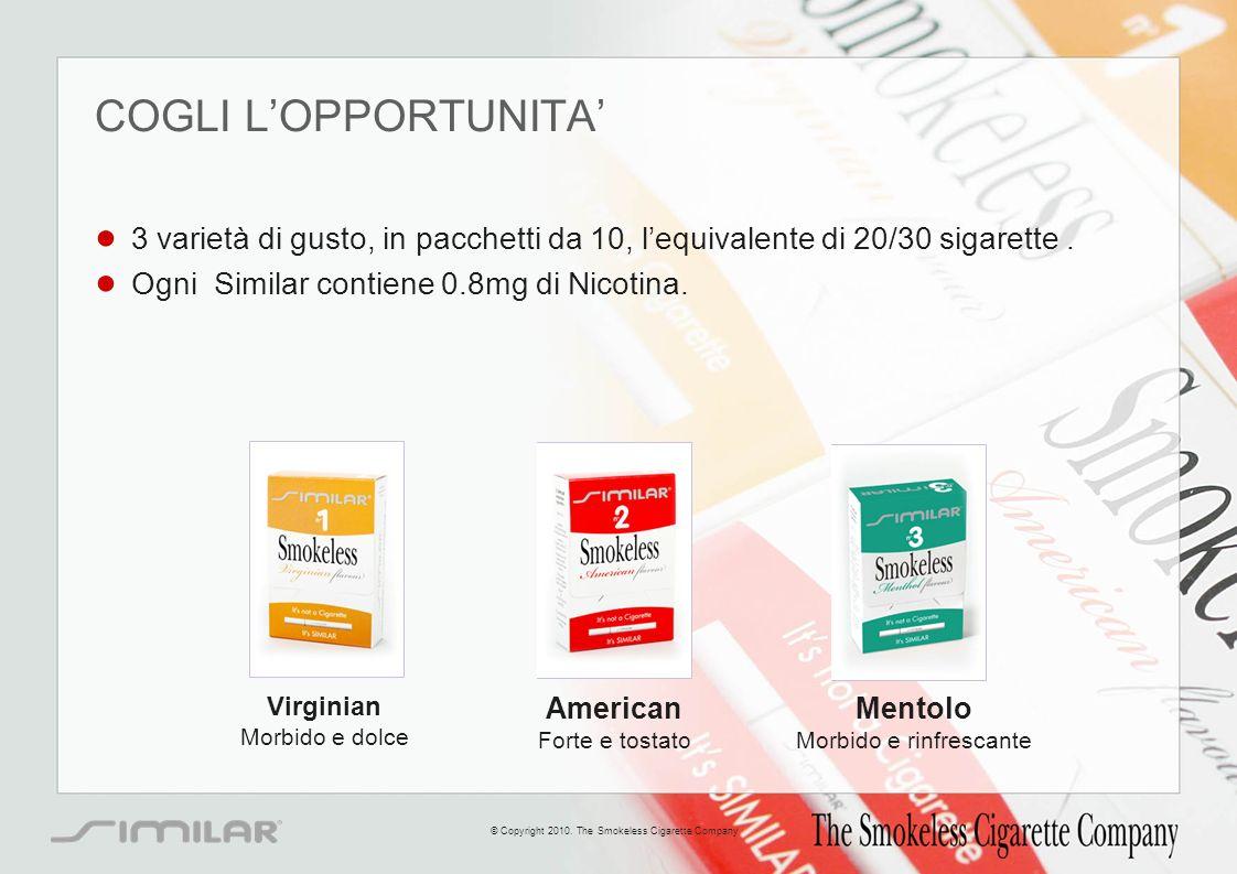 COGLI L'OPPORTUNITA' 3 varietà di gusto, in pacchetti da 10, l'equivalente di 20/30 sigarette . Ogni Similar contiene 0.8mg di Nicotina.