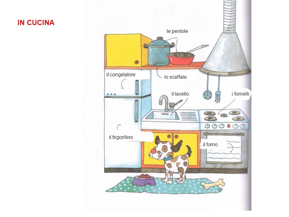 IN CUCINA le pentole il congelatore lo scaffale il lavello i fornelli