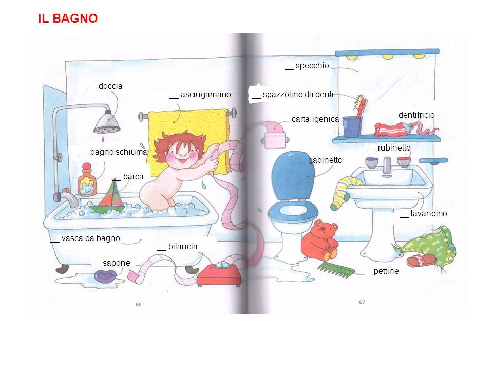 IL BAGNO __ specchio __ doccia __ asciugamano __ spazzolino da denti