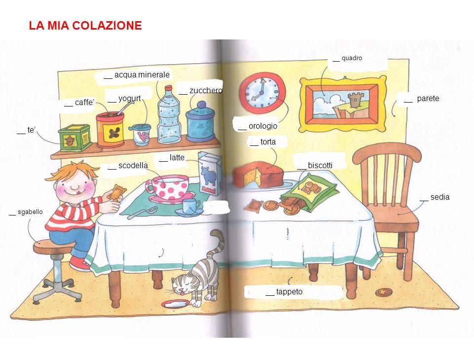 LA MIA COLAZIONE __ acqua minerale __ zucchero __ yogurt __ parete