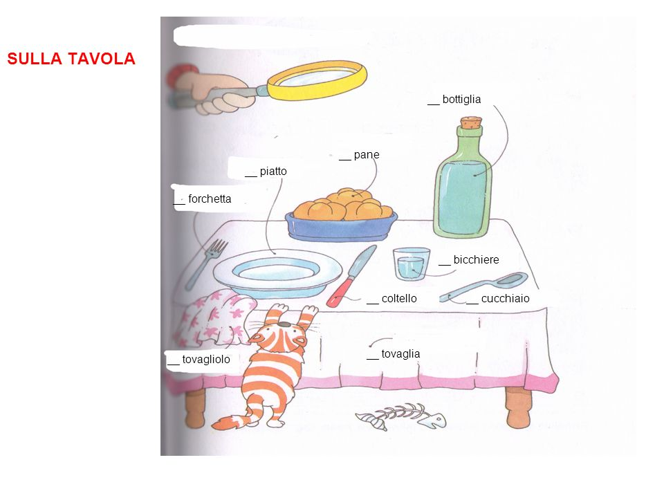 SULLA TAVOLA __ bottiglia __ pane __ piatto __ forchetta __ bicchiere
