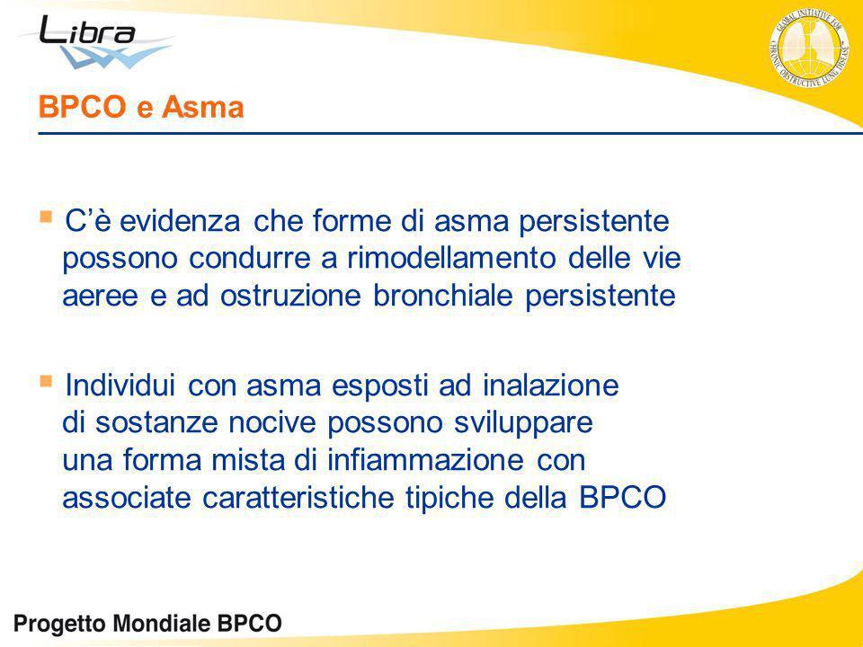 BPCO e Asma C'è evidenza che forme di asma persistente possono condurre a rimodellamento delle vie aeree e ad ostruzione bronchiale persistente.