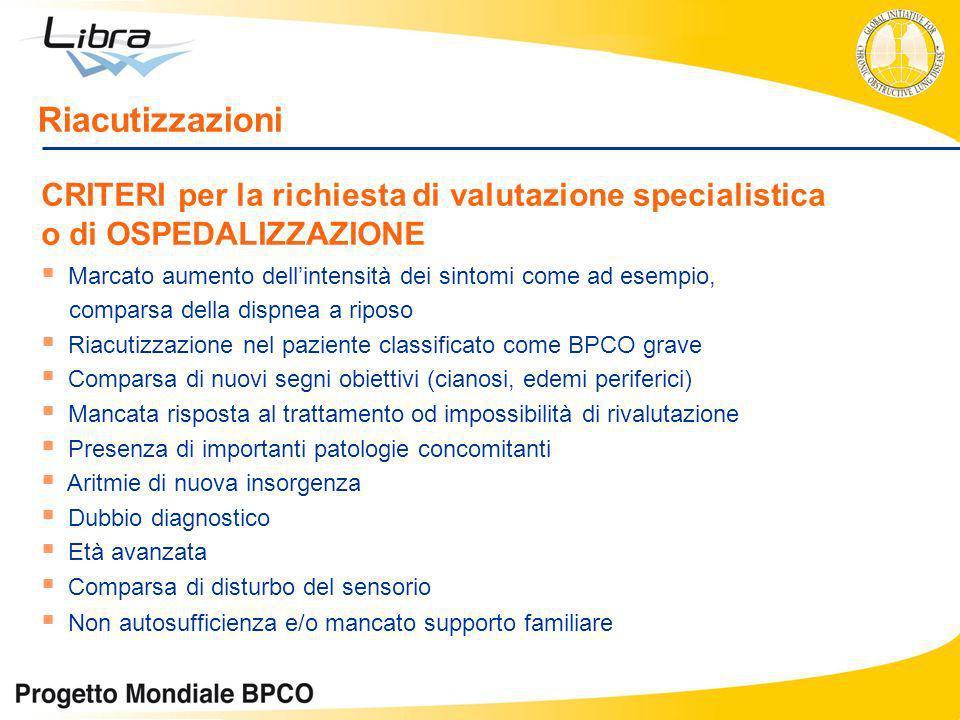 Riacutizzazioni CRITERI per la richiesta di valutazione specialistica o di OSPEDALIZZAZIONE.